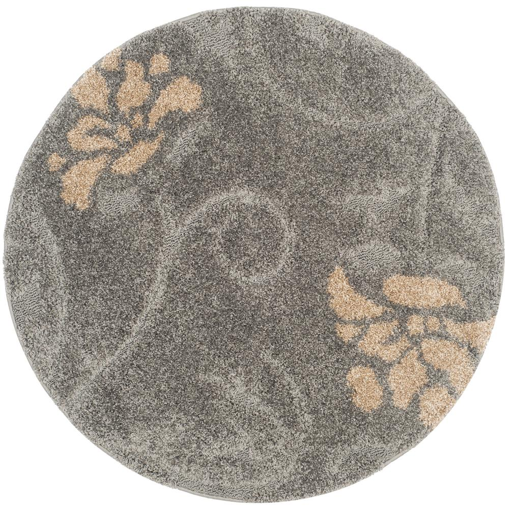 Florida Shag Gray/Beige 4 ft. x 4 ft. Round Area Rug
