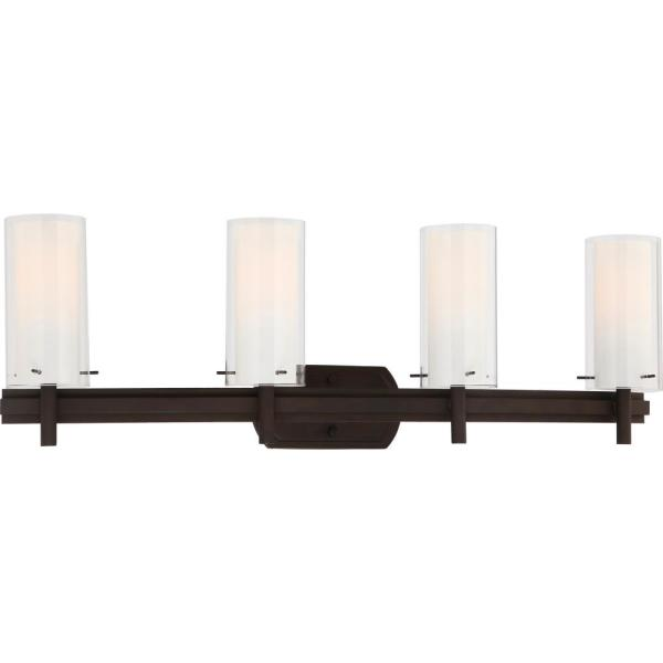 Regina 4-Light 8 in. Antique Bronze Bathroom Vanity Wall Sconce Mount Outer Clear and Inner White Glass Cylinder Shades