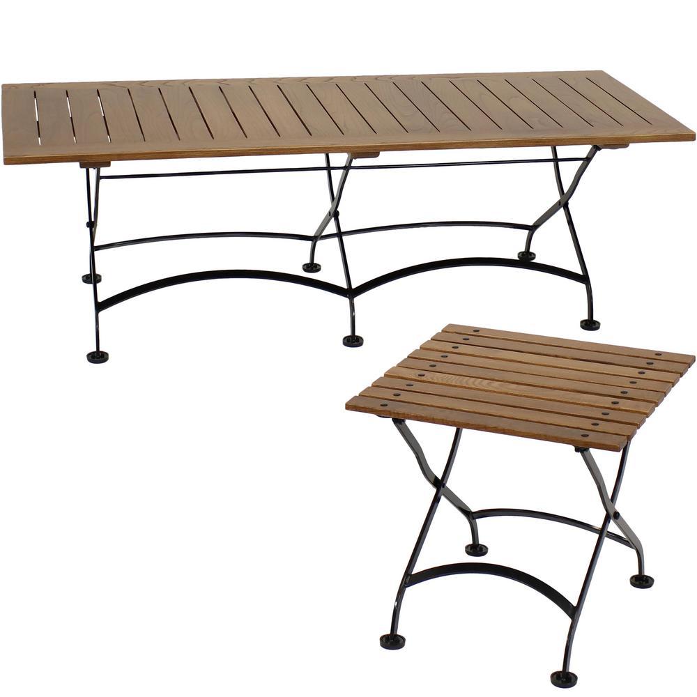 European Chestnut Wood Outdoor Folding Dining Table Set