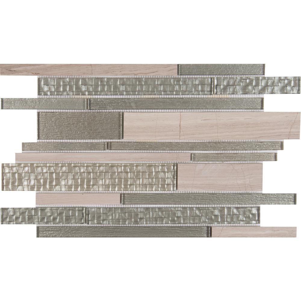 MSI Aria Interlocking 12 in. x 18 in. x 8mm Glass Stone Mesh-Mounted Mosaic Tile (15 sq. ft. / case)