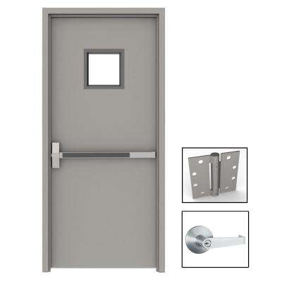 36 in. x 84 in. Gray Flush Exit with 10x10 VL Right-Hand Fireproof Steel Prehung Commercial Door with Welded Frame