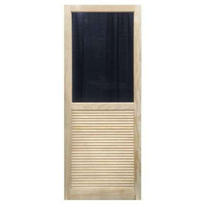 35.75 in. x 79.75 in. Louvered Stainable Screen Door