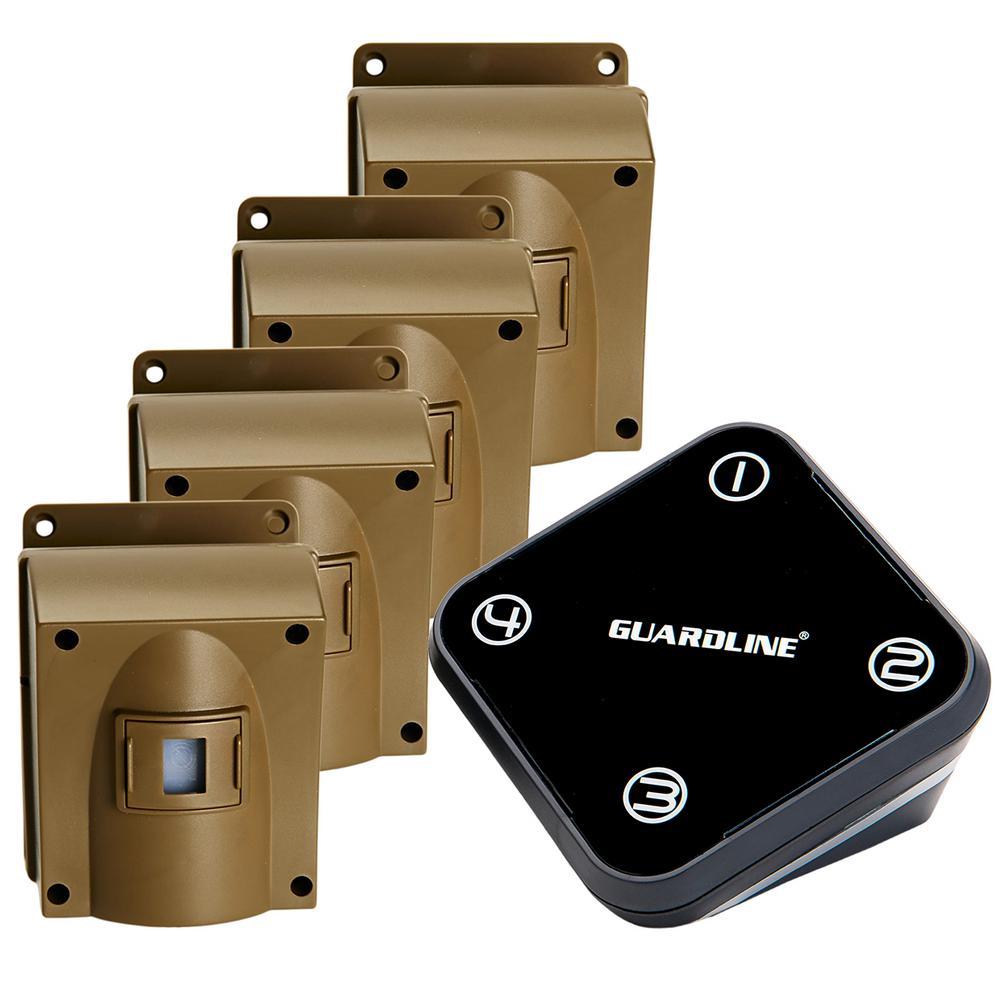 Wireless Driveway Alarm with 4-Sensor Kit