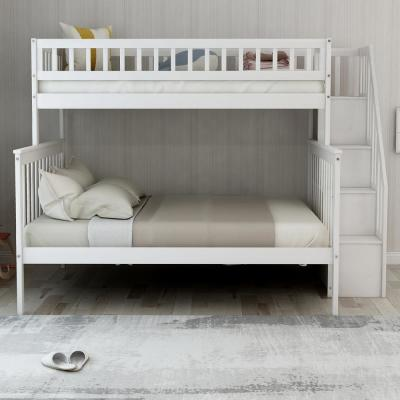 White Twin Over Full Stairway Bunk Bed with Storage and and Stairs for Kids