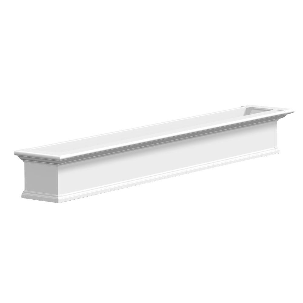Mayne 12 in. x 84 in. White Vinyl Yorkshire Window Box