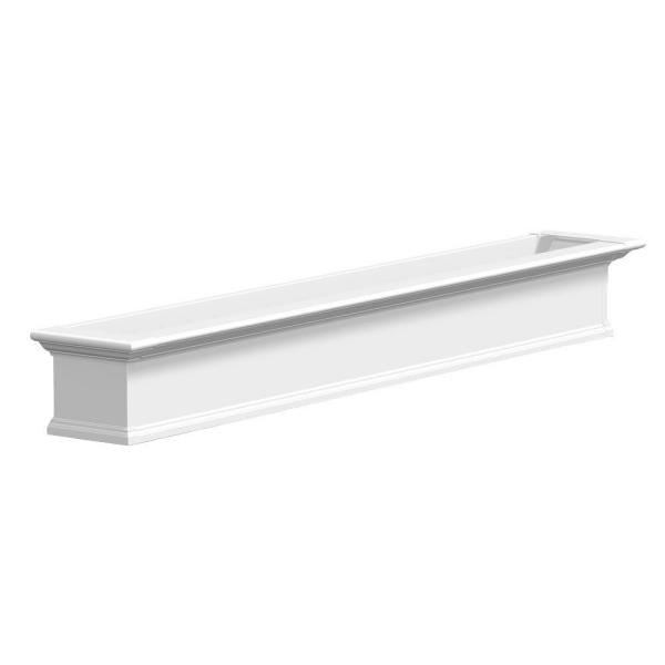 84 in. x 12 in. White Plastic Self-Watering Window Box