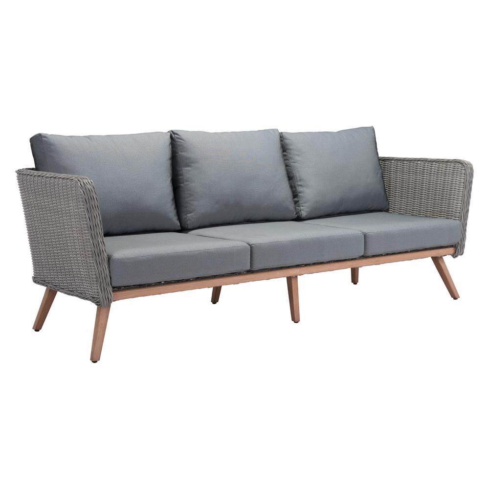 Fabulous Zuo Monaco Aluminum Outdoor Sofa With Gray Cushions Dailytribune Chair Design For Home Dailytribuneorg