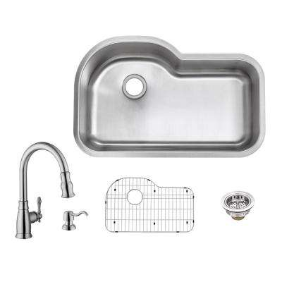 All-in-One Undermount 16-Gauge Stainless Steel 32 in. Euro Style Single Bowl Kitchen Sink with Kitchen Faucet