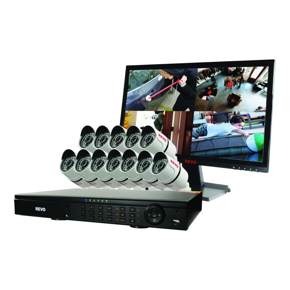 T-HD 16-Channel 2TB DVR Surveillance System with 12 T-HD 1080p Bullet