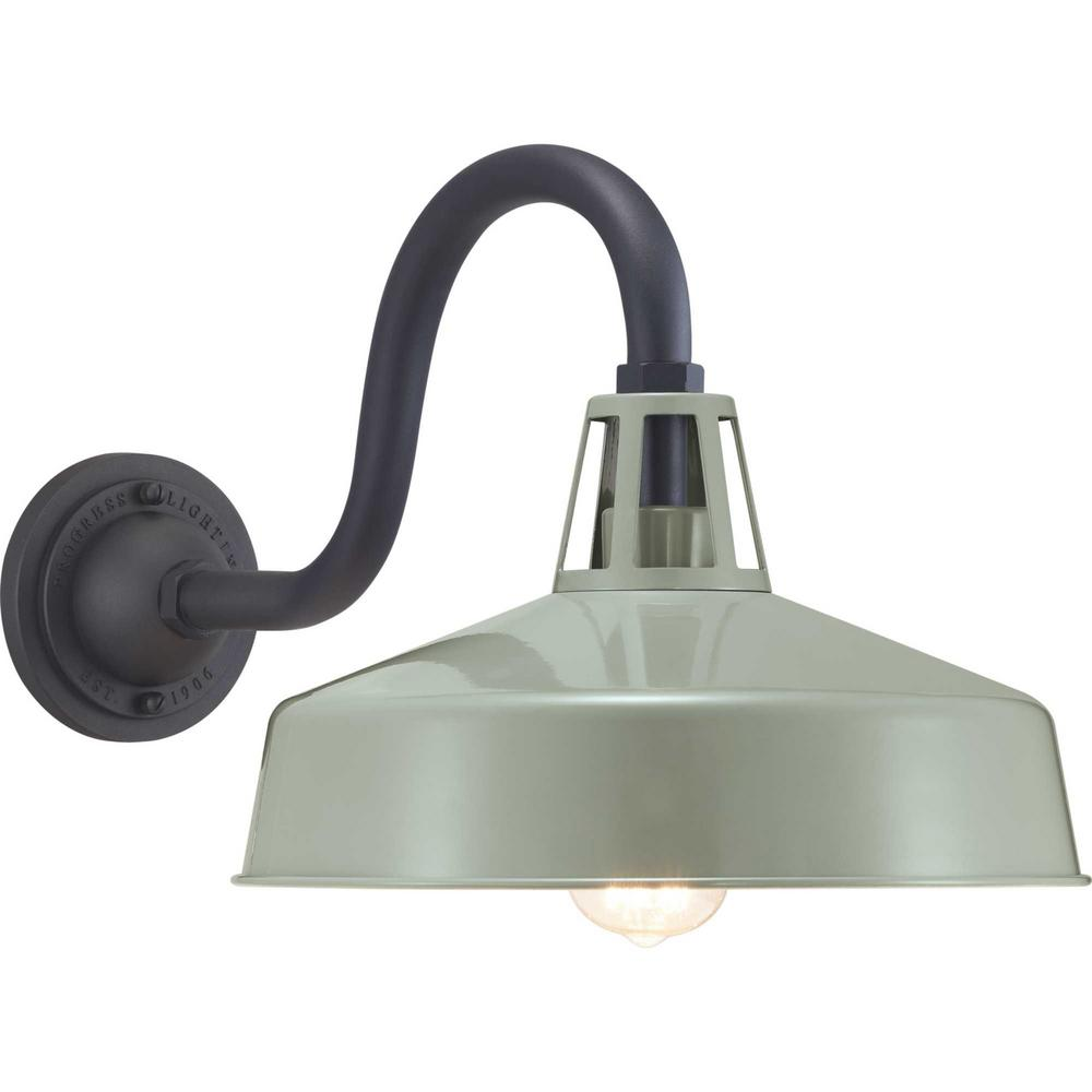 Progress Lighting Cedar Springs Collection 1 Light Green Outdoor Wall Mount Barn Sconce Latern