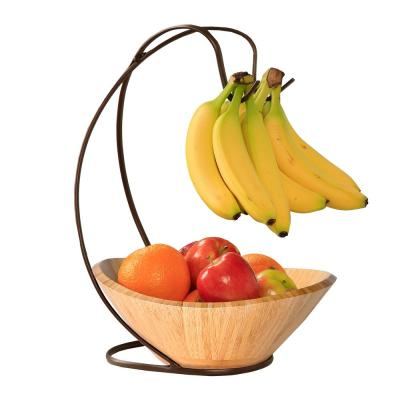 Fruit Tree with Banana Hook and Large Bamboo Bowl