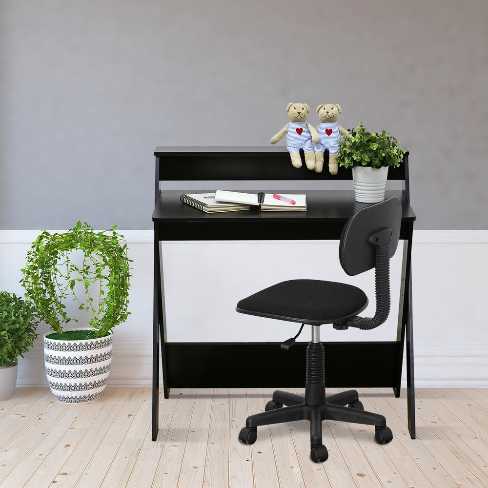 Modern Simplistic Espresso Criss-Crossed Study Desk