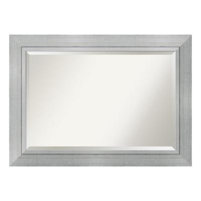 Romano Silver Wood 43 in. W x 31 in. H  Contemporary Framed Mirror