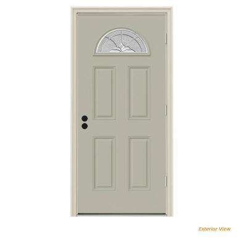 36 in. x 80 in. Fan Lite Langford Desert Sand Painted Steel Prehung Left-Hand Outswing Front Door w/Brickmould
