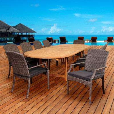 Newberry 11-Piece Teak/Wicker Double Extendable Oval Patio Dining Set with Grey Cushions