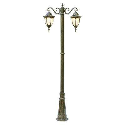 Cabernet Collection 2 Light 93 in. Outdoor Rust Pole Lantern with White Opal Shade