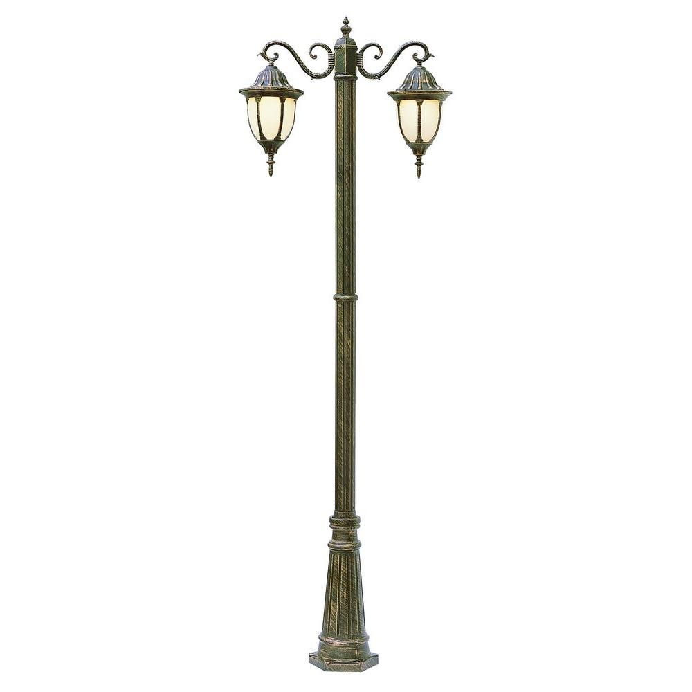 Bel Air Lighting Cabernet Collection 2 Light 93 in. Outdoor Swedish Iron Pole Lantern with White Opal Shade