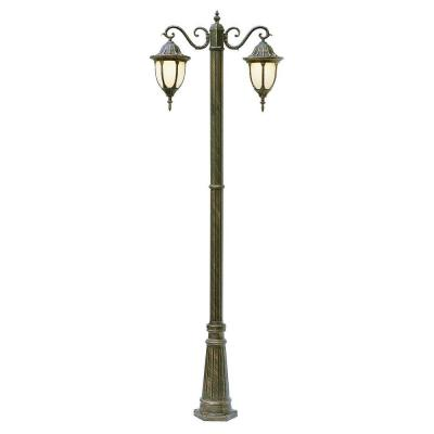 Cabernet Collection 2 Light 93 in. Outdoor White Pole Lantern with White Opal Shade
