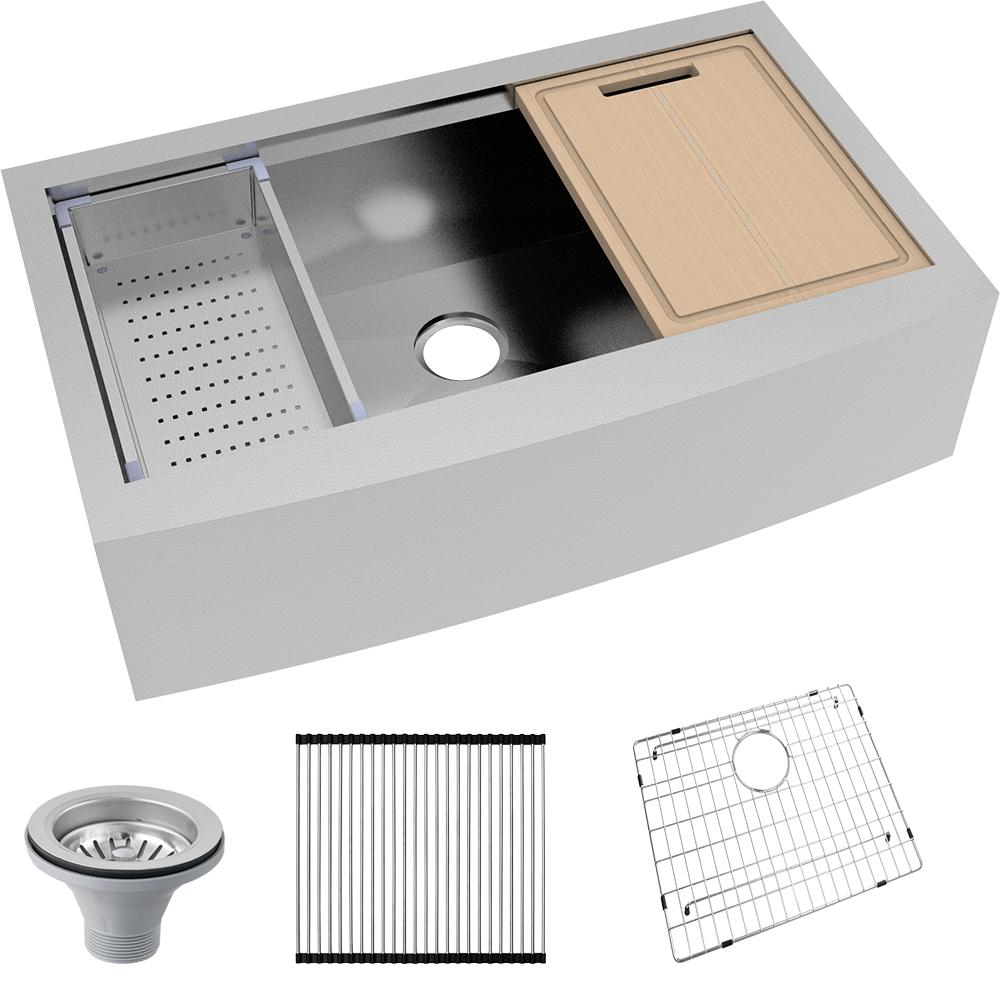 Glacier Bay All-in-One Apron-Front Farmhouse Stainless Steel 36 In. Single Bowl Workstation Sink
