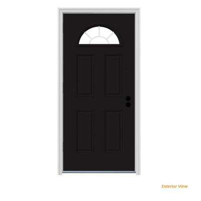 36 in. x 80 in. Fan Lite Black Painted Steel Prehung Right-Hand Outswing Front Door w/Brickmould