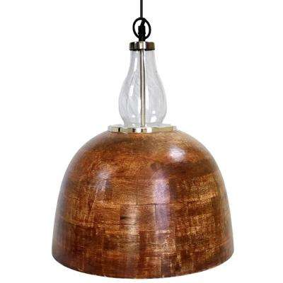 1-Light Stainless Steel Pendant with Wood Shade and Glass Accents