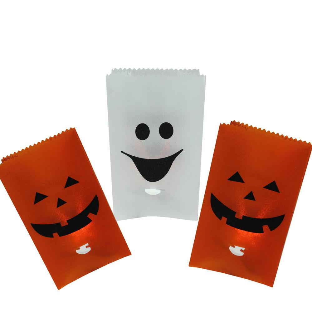 northlight flickering light pumpkin and ghost halloween luminary