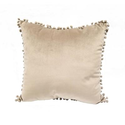 Pompom Taupe Solid Polyester 18 in. x 18 in. Throw Pillow