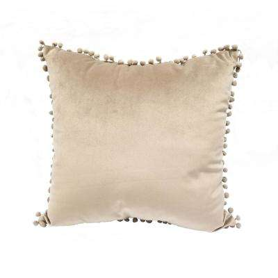 Pompom Taupe Standard Decorative Pillow