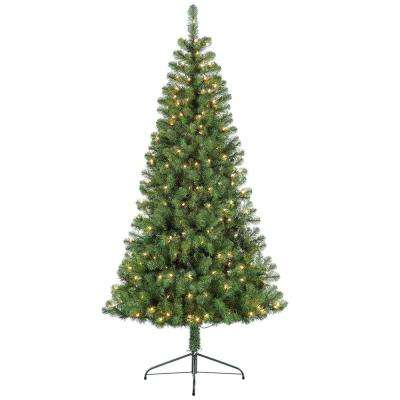 6.5 ft. Pre-Lit Incandescent Half Evergreen Artificial Christmas Tree with 200 UL-Listed Clear Lights