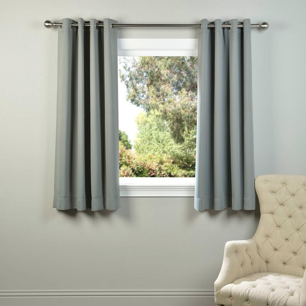 Semi Opaque Neutral Grey Grommet Blackout Curtain