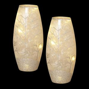 In H Battery Operated Frosted Glass Vases Ec