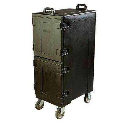 2 Compartment Polyethylene Wheeled Insulated Pan Carrier in Black