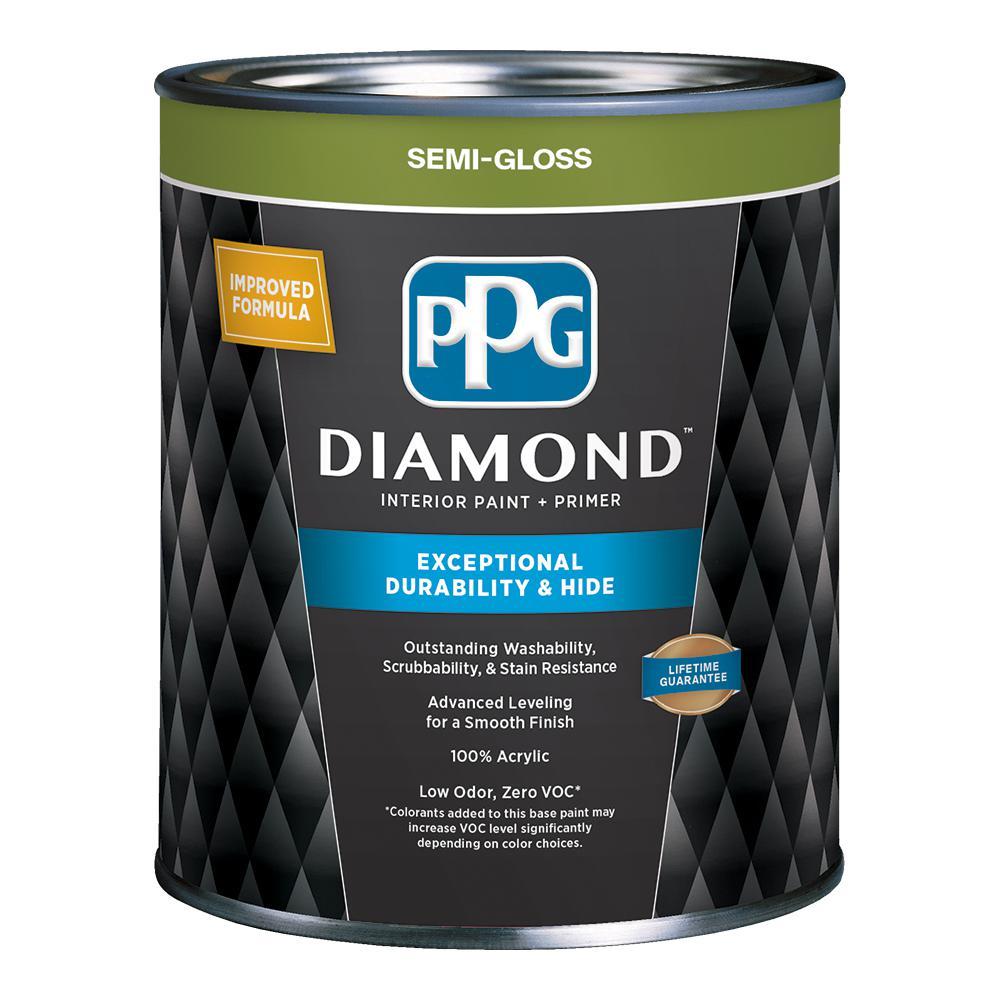 PPG Diamond 1 qt. Pure White Semi-Gloss Interior Paint and Primer