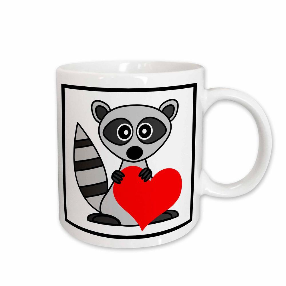Janna Salak Designs Woodland Creatures 11 oz. White Ceramic Raccoon Has My Heart Mug