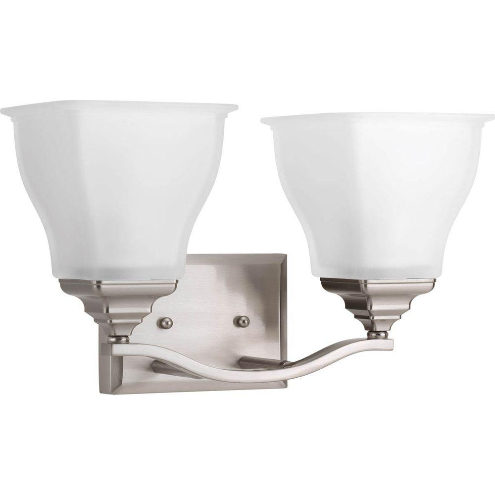 Callison Collection 2-Light Brushed Nickel Vanity Light with Square Etched Glass
