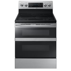Click here to buy Samsung 30 inch 5.9 cu. ft. Dual Door Electric Range with Self-Cleaning and Dual Convection Oven in Stainless Steel by Samsung.