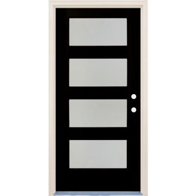 36 in. x 80 in. Elite Inkwell LH 4Lite Satin Etch Glass Contemporary Painted Fiberglass Prehung Front Door w/ Brickmould