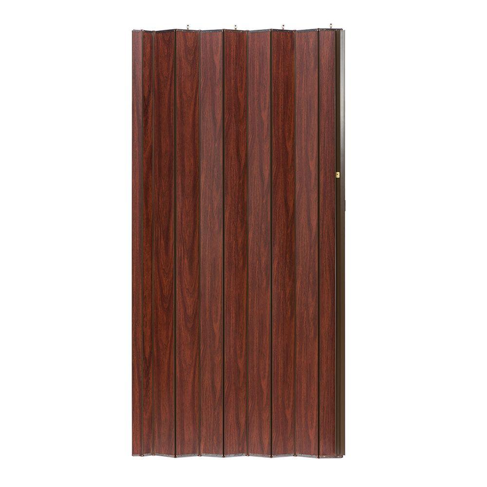 36 in. x 80 in. Woodshire Vinyl-Laminated MDF Mahogany Accordion Door