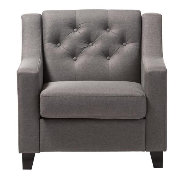 Baxton Studio Arcadia Contemporary Gray Fabric Upholstered Accent Chair