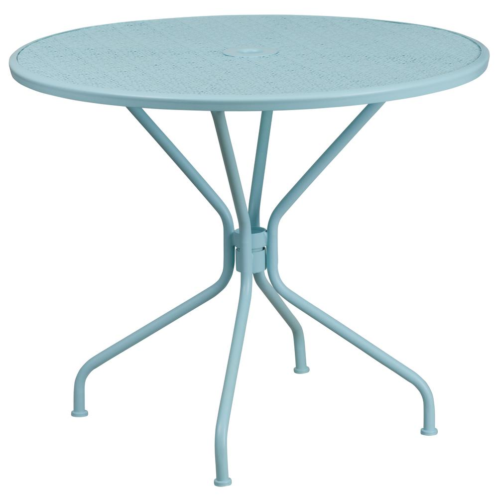 Blue Round Metal Outdoor Bistro Table