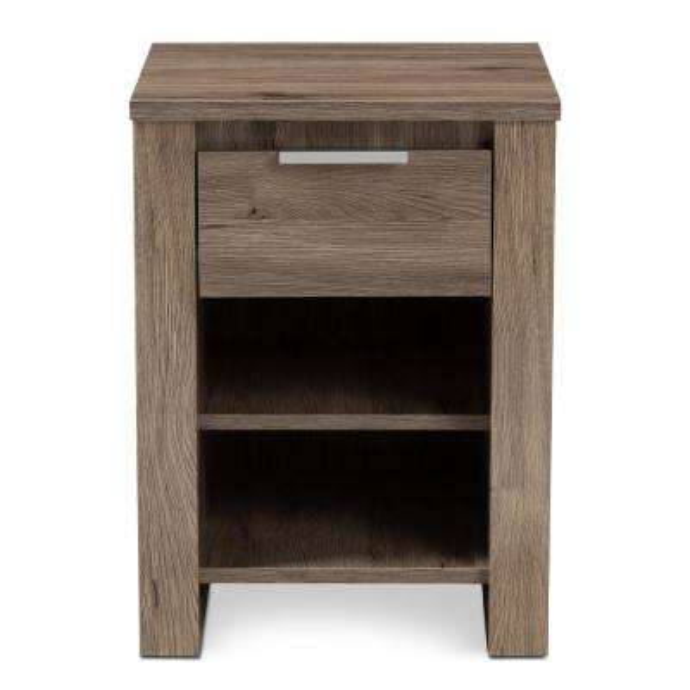 Laverne 1-Drawer Oak Brown Nightstand
