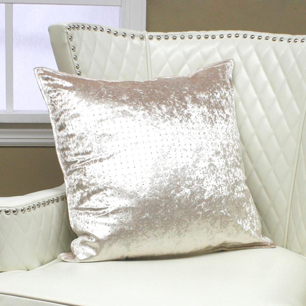 Checkered Rhinestone Ivory Stud Pillow