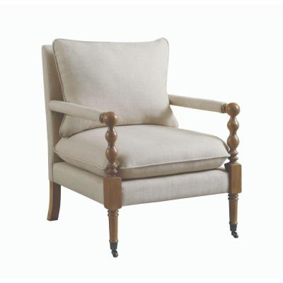 Beige and Brown with Manchette Armrest Fabric Upholstered Wooden Accent Chair