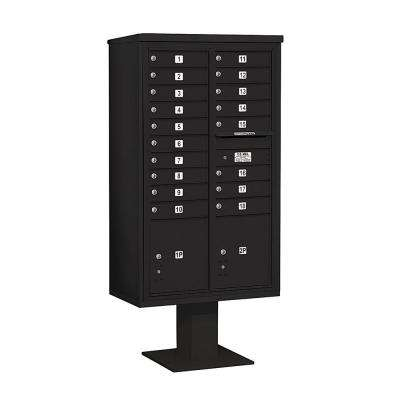 3400 Series 70-1/4 in. 15 Door High Unit Black 4C Pedestal Mailbox with 18 MB1 Doors/2 PL5