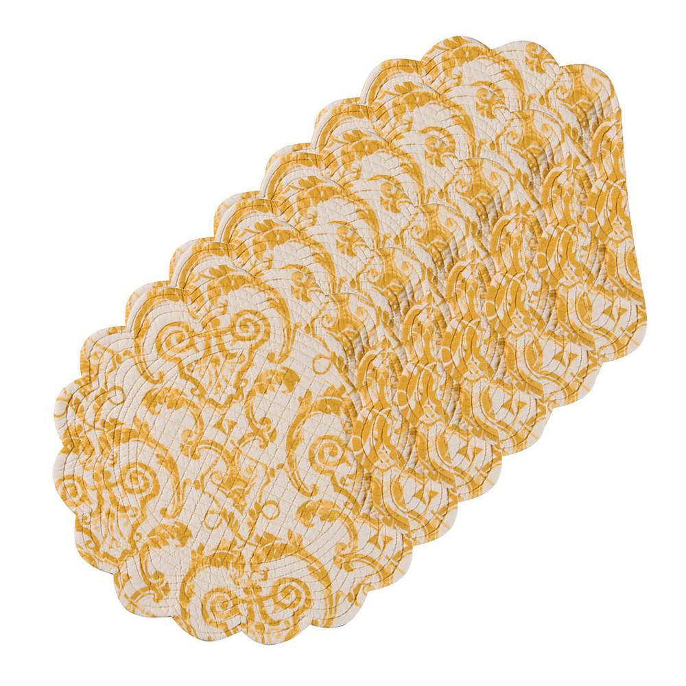 C F Home Florence Round Yellow Placemat Set Of