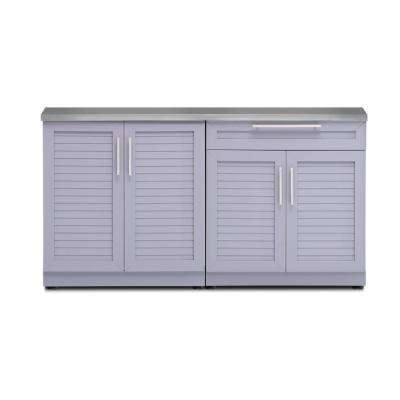 Coastal Gray 3-Piece 64 in. W x 36.5 in. H x 24 in. D Outdoor Kitchen Cabinet Set