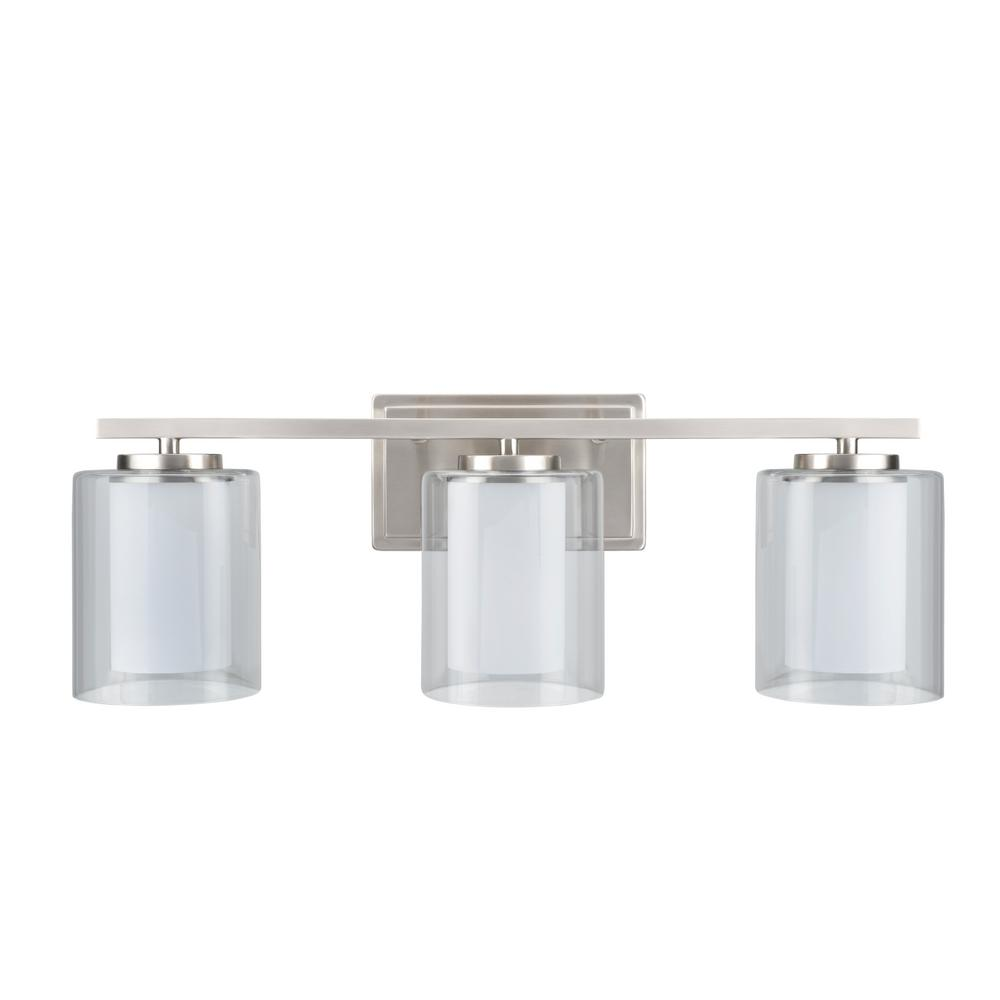 Aspen Creative Corporation 3-Light Satin Nickel Vanity Light with Clear Glass Shade