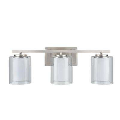 3-Light Satin Nickel Vanity Light with Clear Glass Shade