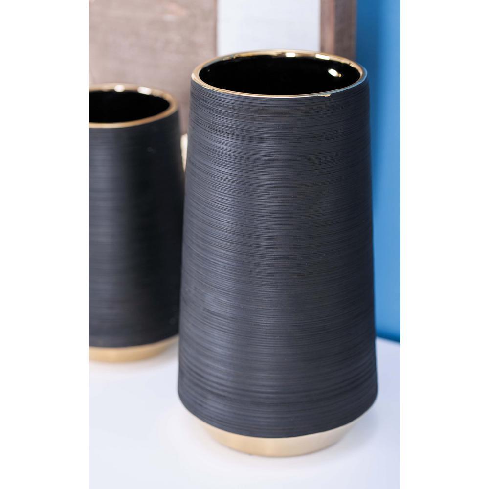 11 in. Ceramic Pear-Shaped Decorative Vase in Black