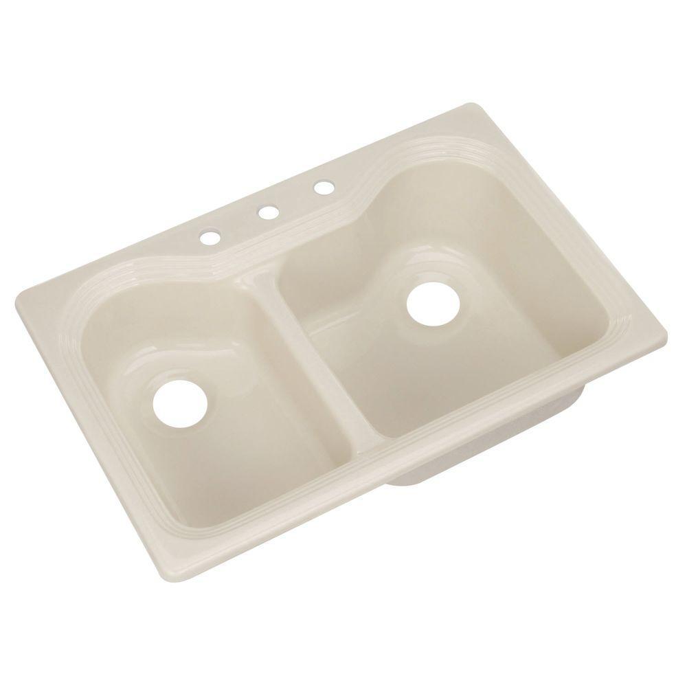 Breckenridge Drop-In Acrylic 33 in. 3-Hole Double Bowl Kitchen Sink in